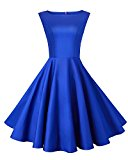 Anni Coco® Women's Classy Audrey Hepburn 1950s Vintage Rockabilly Swing Dress Blue Small