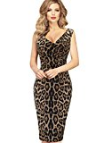 Lmeison Women Sexy V Neck Leopard Casual Party Cocktail Bodycon Sheath Dress