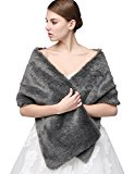 Clearbridal Women's Faux Fur Wrap Cape Stole Shawl Bolero Jacket Coat Shrug For Wedding Dress Winter 17005