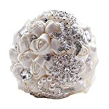 Soledi Bride Bouquet, White Crystal Wedding Rhinestone Brooch Bouquets Brides Hand Holding Flowers