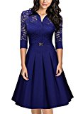 MIUSOL Women's Christmas Lace Contrast Straight Skirt Big Swing A Line Bright Blue Dress XX-Large/UK 16