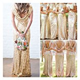 Bridal Mermaid Gold Sequin Bridesmaid Dress Stretchy Backless Wedding Party Gown (XXL, Gold)
