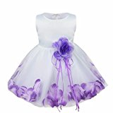iEFiEL Girl Flower Petals Dress Formal Wedding Bridesmaid Party Christening Princess Dresses Dark Purple Baby 12-18 Months