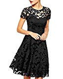 ZANZEA Women's Sexy Casual Summer Lace Round Neck Short Sleeve Princess Dress Party Ball Gown Black US 12