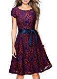 MIUSOL Women's Christmas Vintage 1950s London Style Lace Backless Swing Tea Purple Dress Large/UK 12