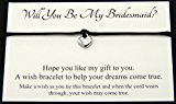 Will You Be My Bridesmaid? Wedding Heart Charm Wish Bracelet Card Gift Bag Friendship charmed Bracelet Party Favour(Hand made in UK) (Dark Purple)