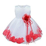 TiaoBug Baby Girls Formal Party Dress Flower Petals Tulle Wedding Dress Red 18-24 Months