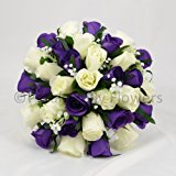 Silk Wedding Flowers Hand-made by Petals Polly, BRIDES POSY, PURPLE/CREAM/IVORY
