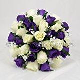 Silk Wedding Flowers Hand-made by Petals Polly, BRIDES POSY, PURPLE/CREAM/IVORY