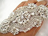 TRLYC Champagne Ribbon Bridal Beaded Crystal Sash Rhinestone Applique Wedding Belt Wedding Sash