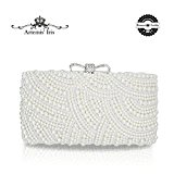 Artemis'Iris Elegant Flower Pearls Designer Evening Clutch Bags, Ladies Handbags Ideal for Party Prom Wedding Dating, Classy Purse Bag with Removable Chains