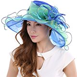 Saferin Women Oganza Summer Sun Hat Beach Church Hat Two Tone Ascot Race Derby Hat Cocktail Wedding Blue and Green