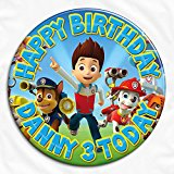 Paw Patrol Birthday Personalised Pin Badge Ideal for Birthdays, Christenings, Holy Communions, Baptisms, Naming Ceremonies, Baby Showers, Weddings, Bridal Hen Parties, Anniversaries (7.7cm)
