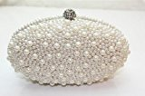 New Creamy Gorgeous Pearl Bridal / Bridesmaid Evening Clutch Bag hand bag