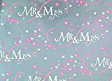 SIMON ELVIN MR & MRS WEDDING WRAPPING PAPER - 2 SHEETS & 1 TAG - SE2604