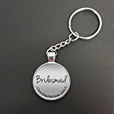 Personalised Bridesmaid Wedding Day Pendant On A Split Ring Keyring Ideal Marriage Wedding Favour Gift N394