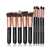 Nestling® Professional Make Up Brushes Cosmetic Set Dailt Foundation Blusher Fan Brush Face Powder for Make up School / Salon / Wedding Christmas Halloween Party / Daily Foundation (Black-rose gold)