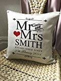 Mr and Mrs Personalised Cushion Cover Gift Valentines Day Wedding Anniversary Gift for Him Her Wife Husband