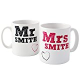 Personalised MR & MRS Bride and Groom Mug Set - Wedding Anniversary Gift