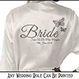 Personalised Satin Kimono /Robe Printed Silver Effect Butterfly Design. Bride, Bridesmaid, (Bride)