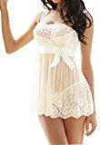 RZS Lace Women Sexy Lingerie Nightwear Perspective Sleepwear Underwear (X-Large, Style3-White (FBA))