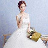 Bride wedding dress Slim lace shoulder to Qi wedding , white , l