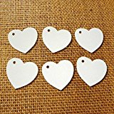 100 Heart Tags In White - Valentines - Wedding - Wish Tree Tags. No Ribbon Or String.