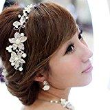 Wuiyepo Bridal Bridesmaid Wedding Pearl Diamante Butterfly Love Flower Headband Tiara