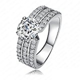Nusey(TM) 2016 New Style Women Bride Rings Real Platinum/18K Gold Plated AAA Cubic Zirconia Inlayed Rings CRI0012