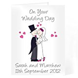 On Your Wedding Day Bride Groom Personalised Card Personalised Cartoon Couple Card Personalise This