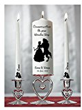 Personalised Wedding / Civil Ceremony Unity Candle Set Disney Beauty and the Beast