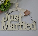 Cream Wooden Cut Out Just Married - Ideal Wedding Gift With Little Heart Embelishment And Hanging Wire