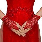 Eudolah Wedding Accessories Fingerless Sequins Rhinestone Lace Bridal Glove Red