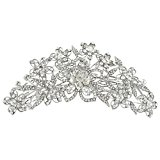Ever Faith Austrian Crystal Gorgeous Bridal Flower Hair Comb Silver-Tone Clear A09910-1