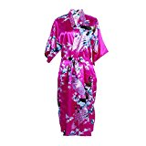 Elite99 Women's Robes Peacock and Blossoms Kimono Satin Nightwear Dress Long (L, Rose Red)