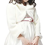 Flora Faux Fur Flower Girl's Long Sleeve IVORY Shrug/Bolero/Jacket (Medium)