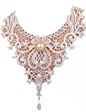 JAEDEN White Lace Bridal Necklace Choker With Pearls