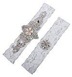 LYDIAGS 2 PCS Wedding Garter Brides Belt Ribbon Lace Garter Excellent Gift for Bride XXL Ivory