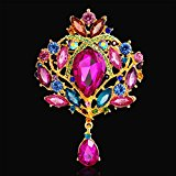 Victorian Chandelier Brooch Platinum Plated Wedding Bridal Ruby Sapphire Crystal Teardrop Colourful