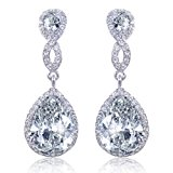 EVER FAITH® CZ Crystal Infinity Teardrop Wedding Dangle Pierced Earrings Clear Silver-Tone N02479-1