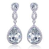 EVER FAITH® CZ Crystal Infinity Teardrop Wedding Dangle Pierced Earrings Clear Silver-Tone N02479-1