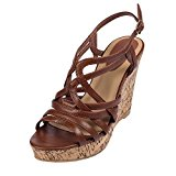 SheSole Womens Comfortable Dress Strappy High Heels Plarform Wedge Sandals Brown UK4