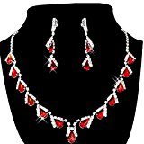 SODIAL(R) Women's Jewelry Set Bridal Wedding Red Teardrop Pearls Crystal Rhinestone Necklace Earrings