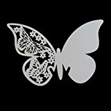 Pack 50 Shimmer Laser Cut White Butterfly Name Place Card for Wedding Champagne / Wine Glass , Party Favour Table Number Decoration (50)