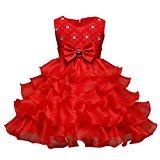 Yodensity Baby Girls Princess Dress Multi-layers Bowknot Sash Wedding Bridesmaid Party Tutu Dress