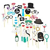 Stylish & Fashionable Selfie Prop Kit For Parties! Pre Assembled 40pcs. (Champagne/Just Married)