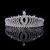 Beautiful Tiara Rhinestones Crown Decorated Wedding Party Bridal Bridesmaid Shining Crystal Crown Headband Hair Band (Silver)