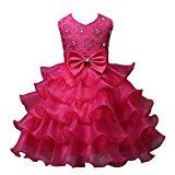 Rosennie 2016 New Sundress Nail Bead Girls Dress Wedding Party Princess Dresses (140(Age 6-7Y), Hot Pink)