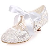 Clearbridal Women' Pumps Closed Toe Mid Heels Mary Jane Prom Lace Ribbon Tie Wedding Party Shoes ZXF9001-06 Ivory UK7