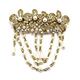 Bride Boutique Boho Vintage Gold Flower Crystal & Pearl Hair Chains Barrette Clip